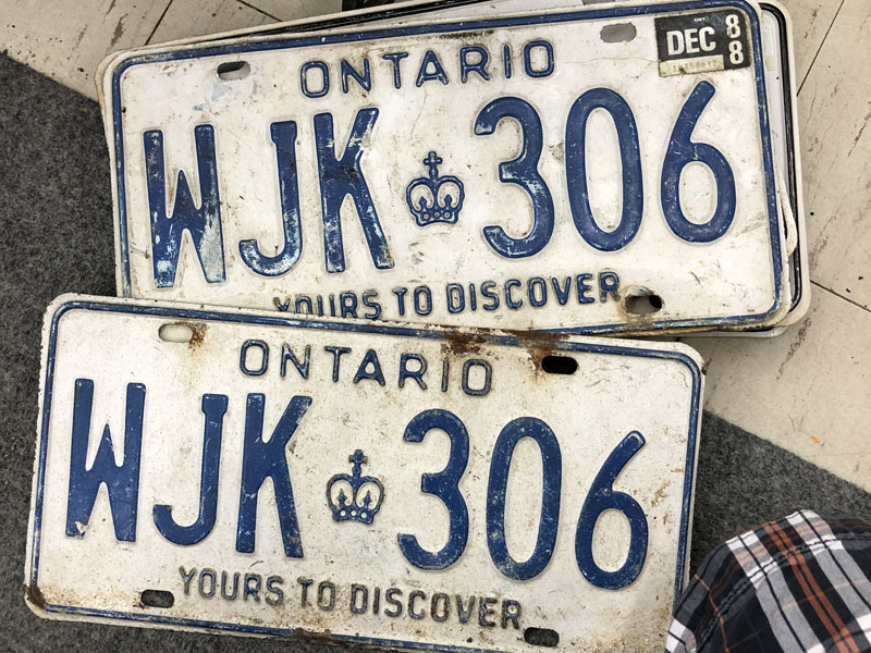 Rare serif-J plates, harvested from Sault Ste. Marie, collection-bound, and awaiting cleanup.