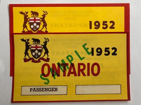 Fake 1952 Ontario windshield decals