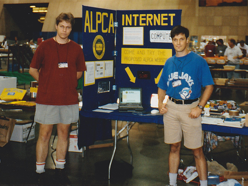1998, Niagara Falls, NY: The year that the ALPCA website was conceived, Joe and I received permission from the Board to construct a booth to demonstrate the site to the membership. The site was given the club's official blessing at the Board meeting during the convention, and so started my tenure as an ALPCA webmaster. This was also the year I accidentally won a gigantic batch of plates for $100, with no way to get them home.