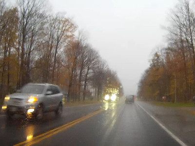 Rain turning to snow on Highway 7A east of Port Perry.