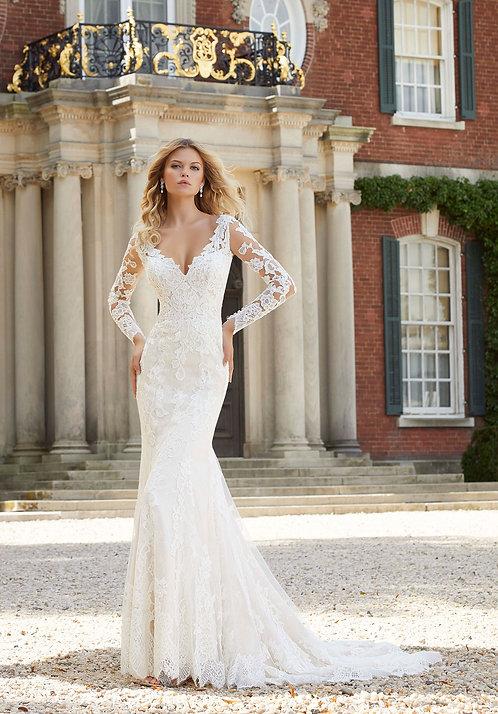 Brautkleider mit Spitze lange ärmel, offene Rücken 2019