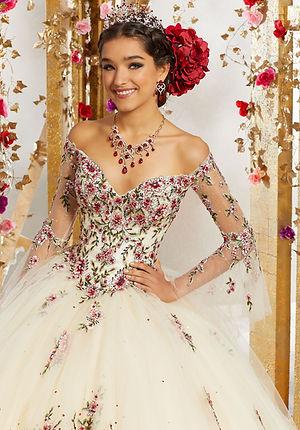 Brautkleider-Hochzeitskleider mit roten Blumen aus Tüll lange Ärmeln schulterfrei Sissi Style