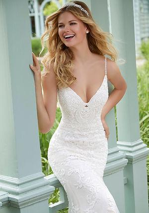 Brautkleider-Hochzeitskleider aus Spitze figurbetont mit Spaghetti-Trägern, rückenfrei