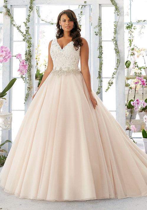 Brautkleider extra größen 52 A-Linie Spitze Tüll blush champagne