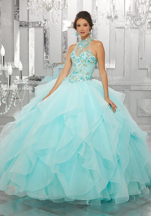 Ausgefallene Brautkleider Ballkleider farbige Tüll Prinzessin Blumen türkisblau