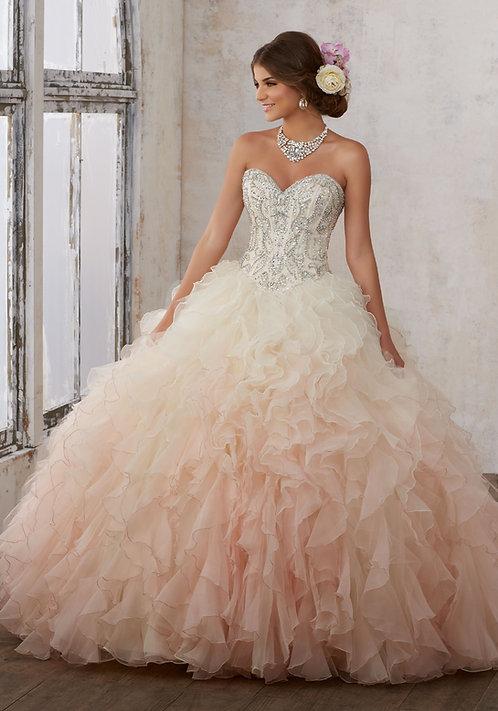 Ballkleid Hochzeitskleid prinzessin ombre tüll Herzausschnitt blush champagne