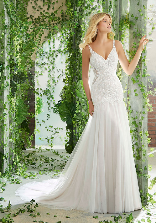 Brautkleider mit Spitze tüll rückenfrei fit and flair Meerjungfrau