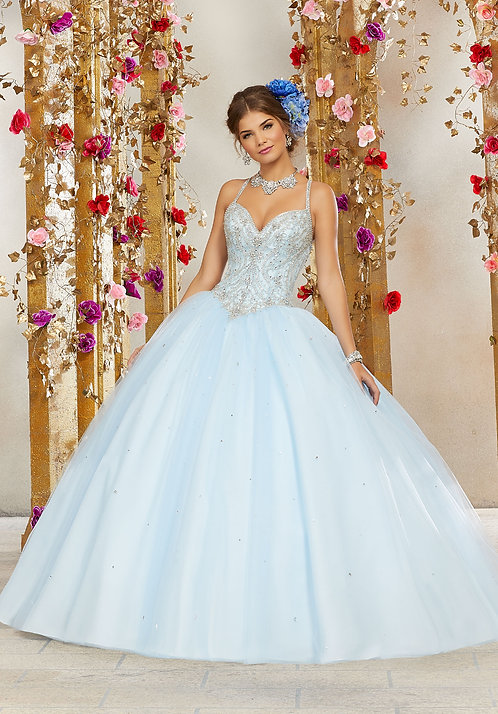 Spanische Brautkleider Ballkleider Tüll Prinzessin blau