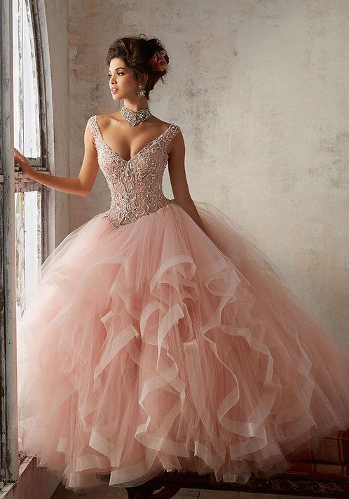 Brautkleider Ballkleider blush rosa nude tüll prinzessin sissi