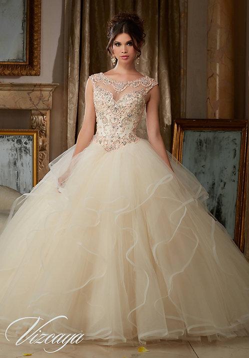 Prinzessin Hochzeitskleid Sissi Stil Tüll Glitzer champagne blush