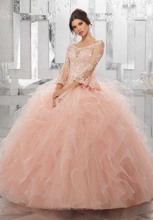 Brautkleid Ballkleid mit langen Ärmeln, Spitze, Tüll, Sissi Style blush rosa