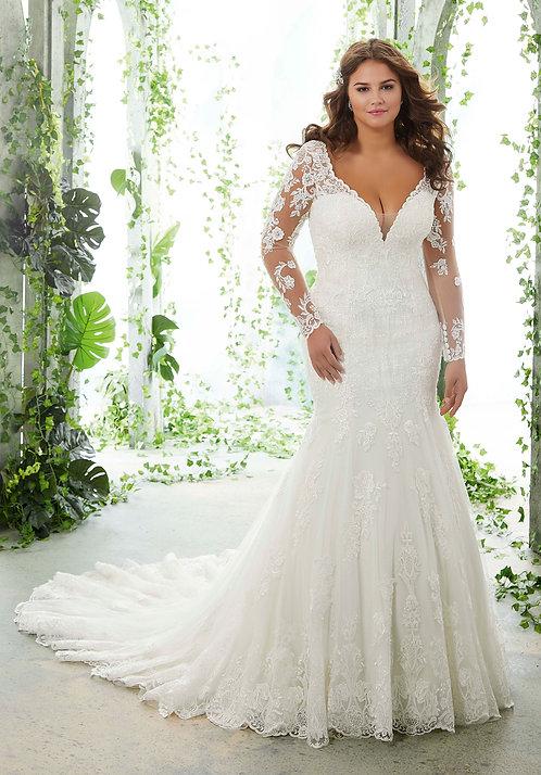 Brautkleider für mollige, extra größen, mit Ärmeln Spitze Fit und flair weiss