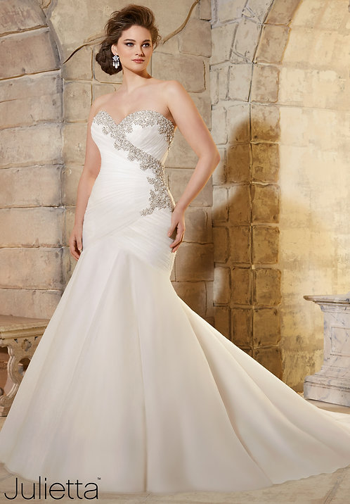 Brautkleider extra große größen, Herzausschnitt, Tüll, Meerjungfrau