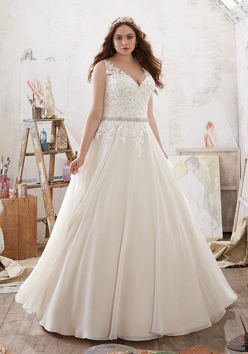 Brautkleider A-Linie Spitze Tüll V-Ausschnitt, grosse grössen, für mollige