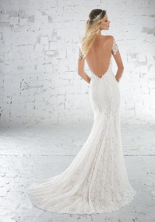 Brautkleider mit Spitze tiefer rückenausschnitt lange ärmeln