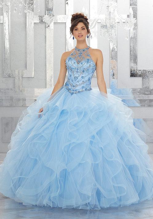 Brautkleider Hochzeitskleider Ballkleider türkis blau Tüll Neckholder