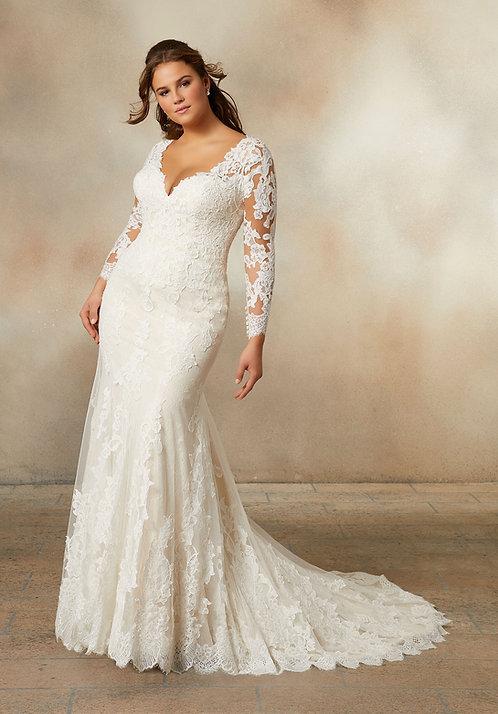 Brautkleider mit Spitze lange ärmel, für mollige, übergrößen