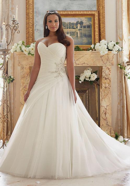 Hochzeitskleider A-Linie für mollige Übergrössen, grosse Grössen, Herzausschnitt elfenbein
