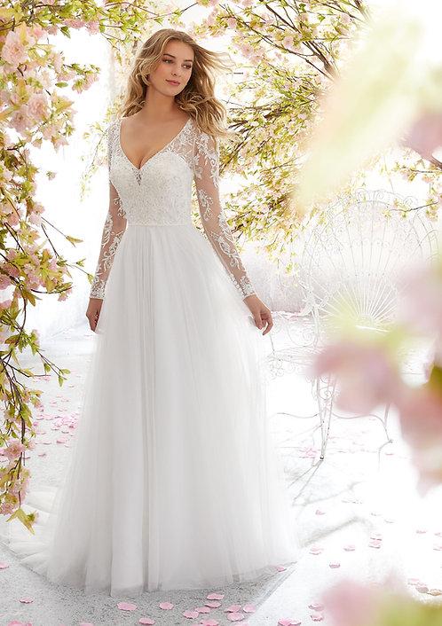Brautkleider mit Ärmel Spitze Strand Hochzeit tiefer Rückenausschnitt