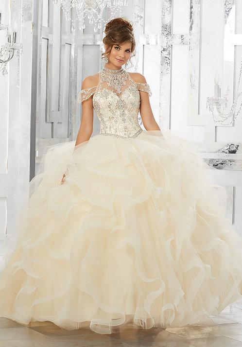 Türkische Brautkleider Ballkleider Tüll Prinzessin Champagne
