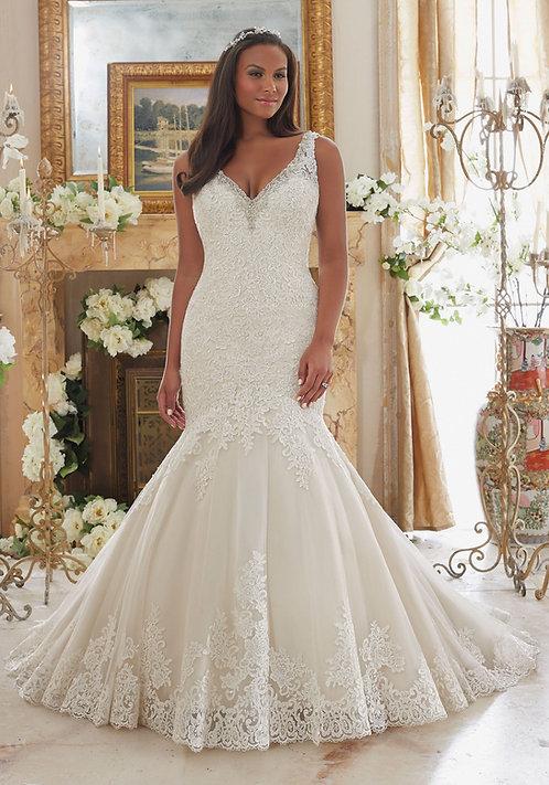 Brautkleider für mollige Übergrössen, V-Ausschnitt, Meerjungfrau, Spitze Tüll