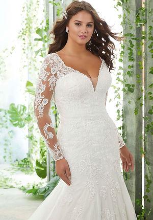 Brautkleider-Hochzeitskleider übergrößen aus Spitze mit lange Ärmeln figurbetont