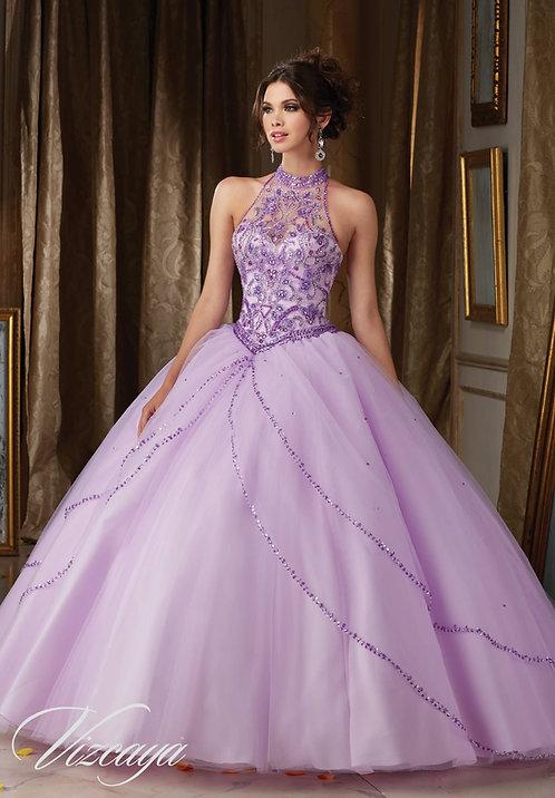 Neckholder Ballkleid Prinzessin Hochzeitskleid flieder weiß