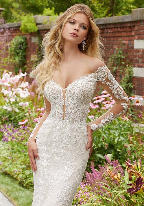 Brautkleider mit Ärmeln Spitze schulterfrei fit und flair