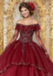 Ballkleder-Brautkleider tüll schulterfrei in Farbe dunkelrot mit lagen Ärmeln