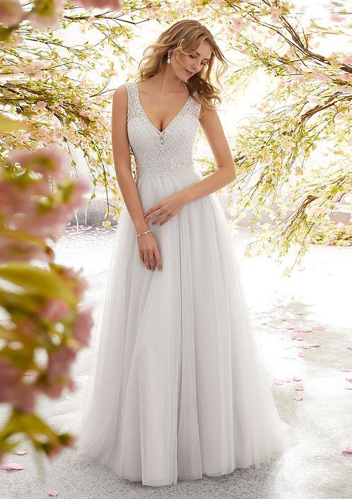 Brautkleider V-Ausschnitt perlenstickereien