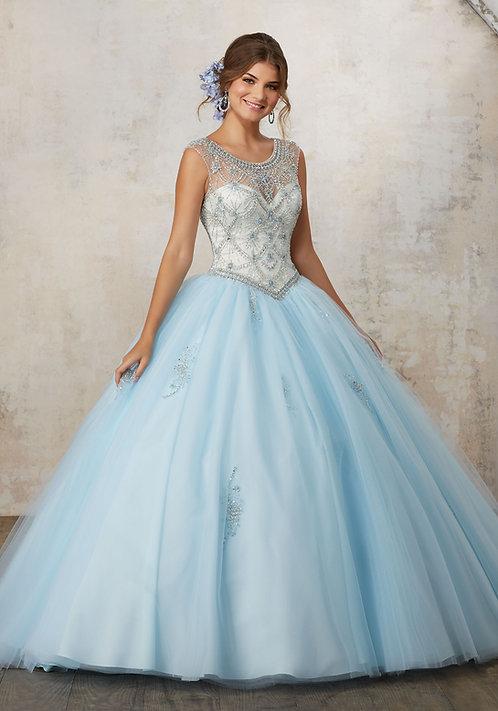 Ballkleid Hochzeitskleid Tüll Sissi glitzer Prinzessin blau