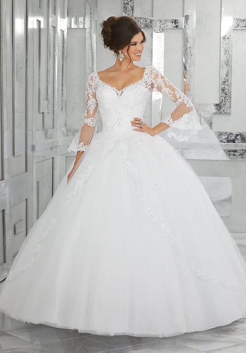 Spanische Brautkleider Ballkleider prinzess tüll lange ärmel weiss