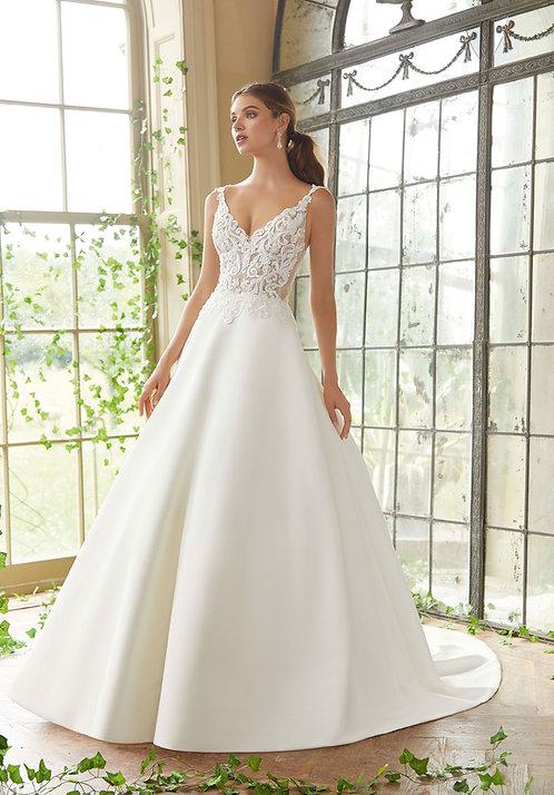 Brautkleider Satin mit Taschen rückenfrei Spitze Herzausschnitt