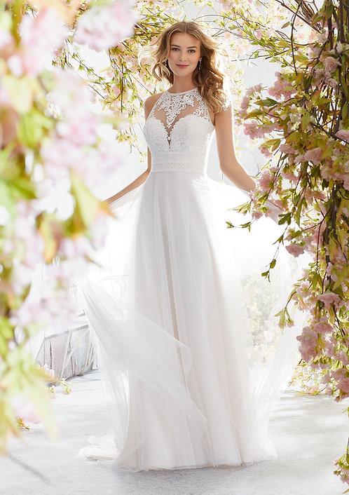 Brautkleider venizianische Spitze Neckholder Tüll