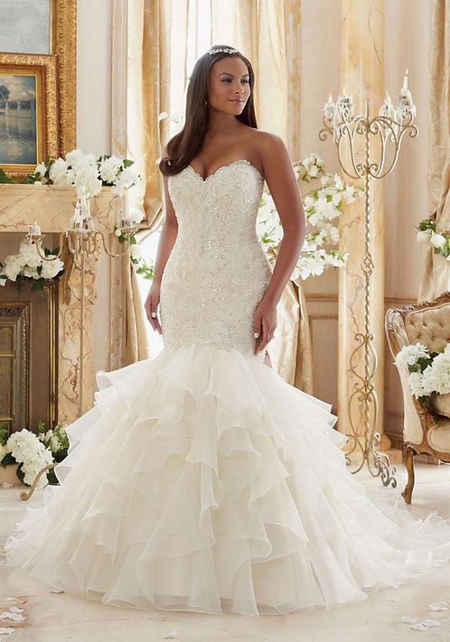 Brautkleider für mollige, große größen, Spitze figurbetont Meerjungfrau