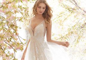 Brautkleider-Hochzeitskleider mit Spitze Tüll, V-Ausschnitt, A-Linie