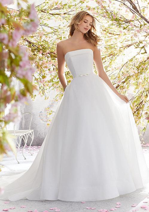 Brautkleider schlicht ballkleid satin organza weiss ohne perlen