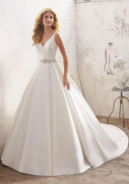 Brautkleider Satin A-Linie seitentaschen Taillengürtel