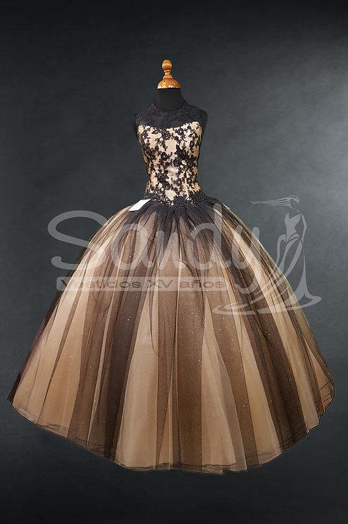 Vestido de XV años oro negro Sandy