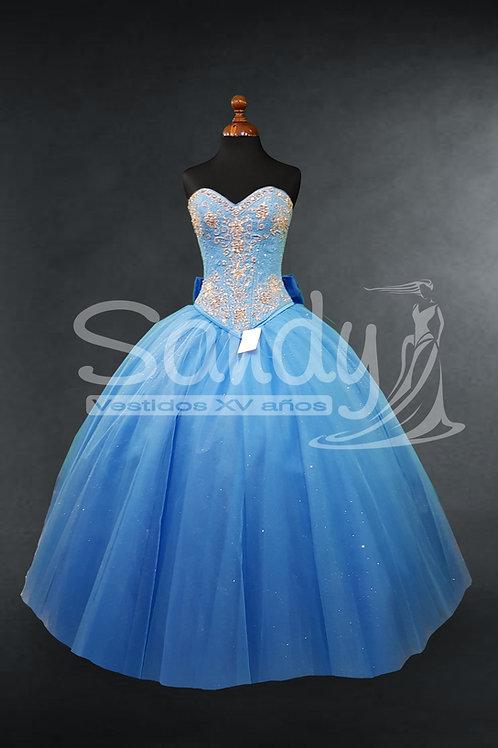 Vestido de 15 XV años bordado sencillo Sandy