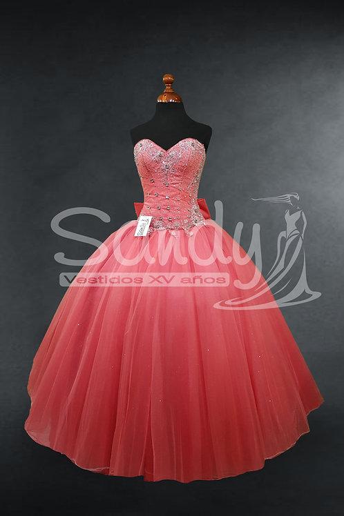 Vestido de 15 años decorado coral Sandy