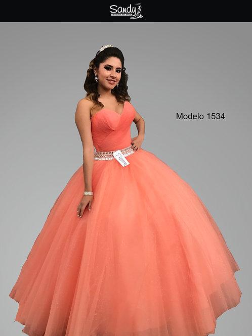 Vestido XV años Frontal 1534 Sandy vestidos quince años Melon