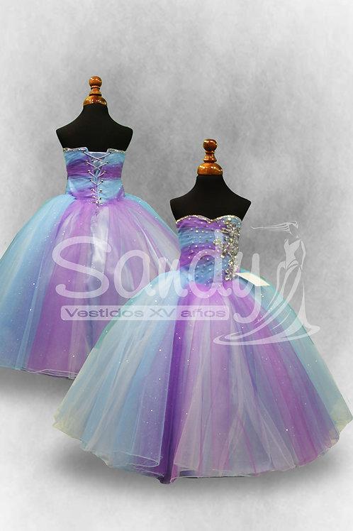 Vestido de niña princesa colores Sandy