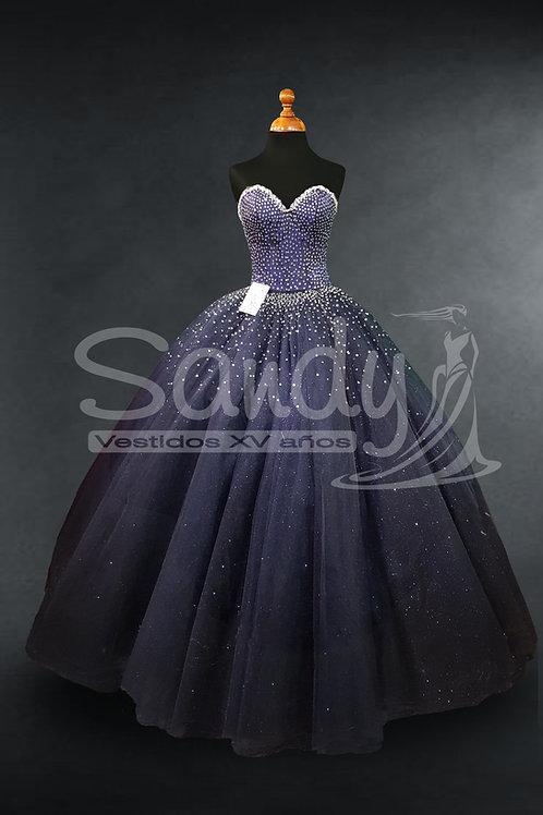 Vestido de XV años brillos moderno Sandy