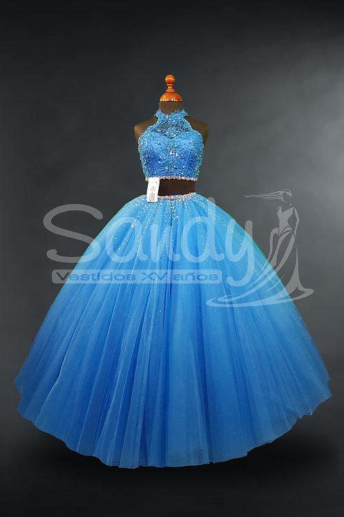 Vestido de 15 xv quince años crop top halter encaje Sandy