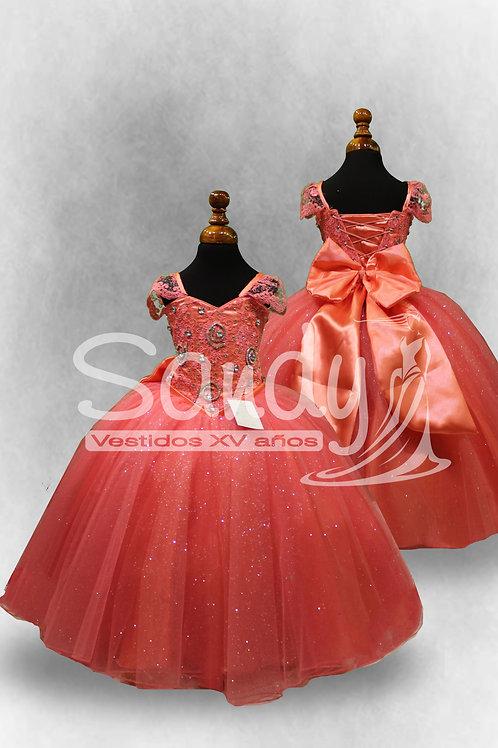 Vestido de niña coral bordado Sandy