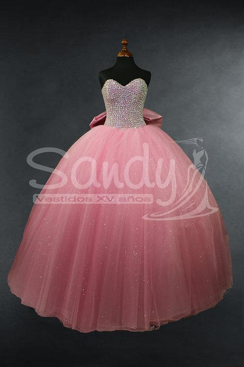 Vestido xv años rosa pedrería moño Sandy