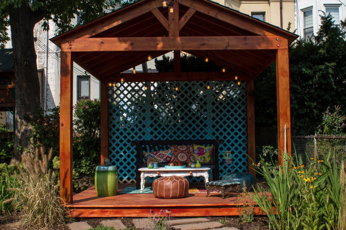 Gazebo in garden designed by RFB