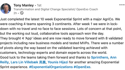 Tony Manley shares 10 lessons about the ExO Sprint