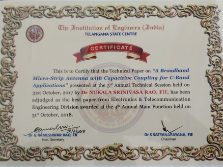 Best Paper Award From Institution of Engineers (India)